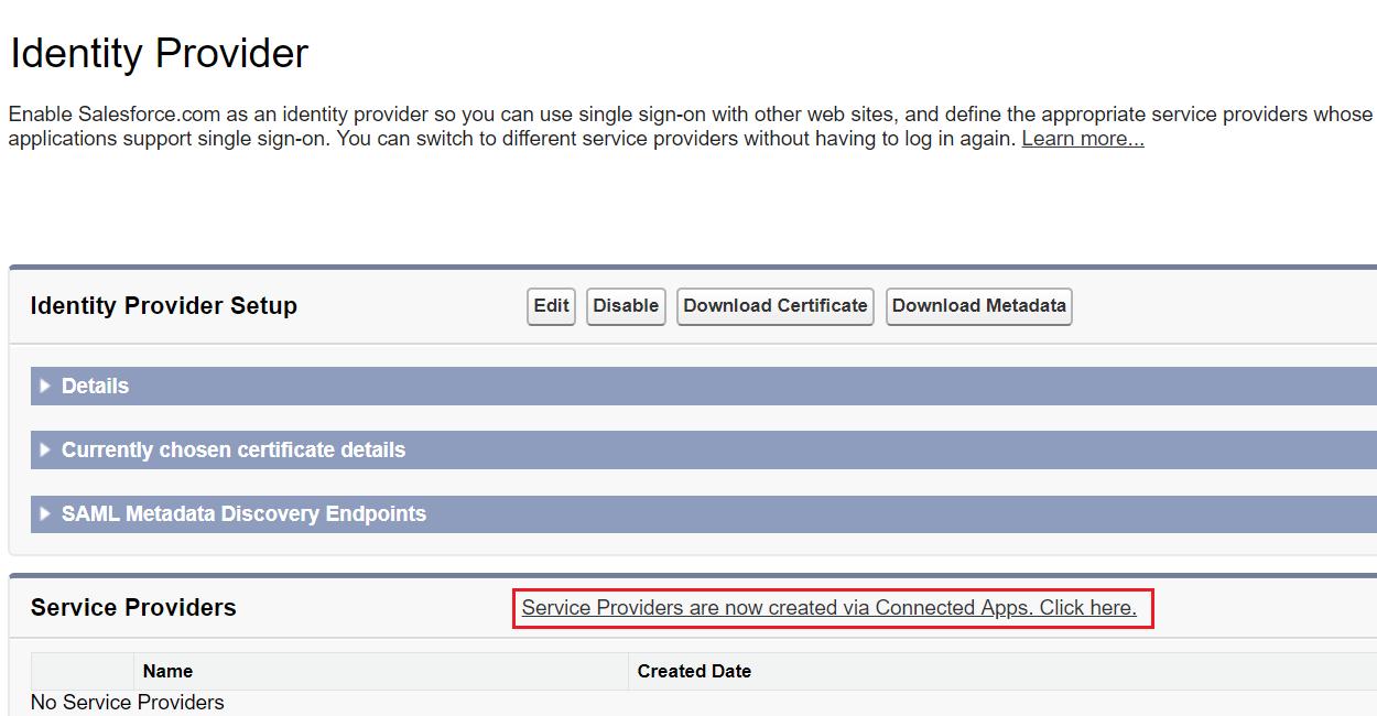 SAML Single Sign-On (SSO) using Salesforce Identity Provider (IdP), Salesforce Identity provider Setup