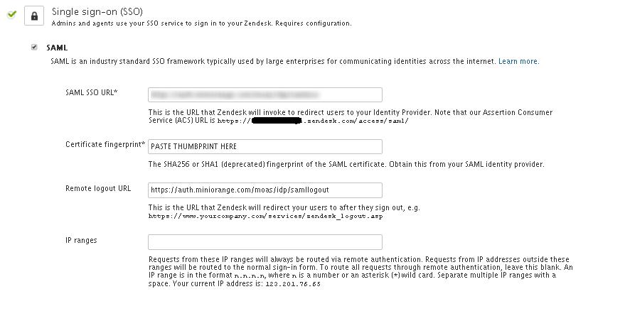 enter idp info zendesk as sp