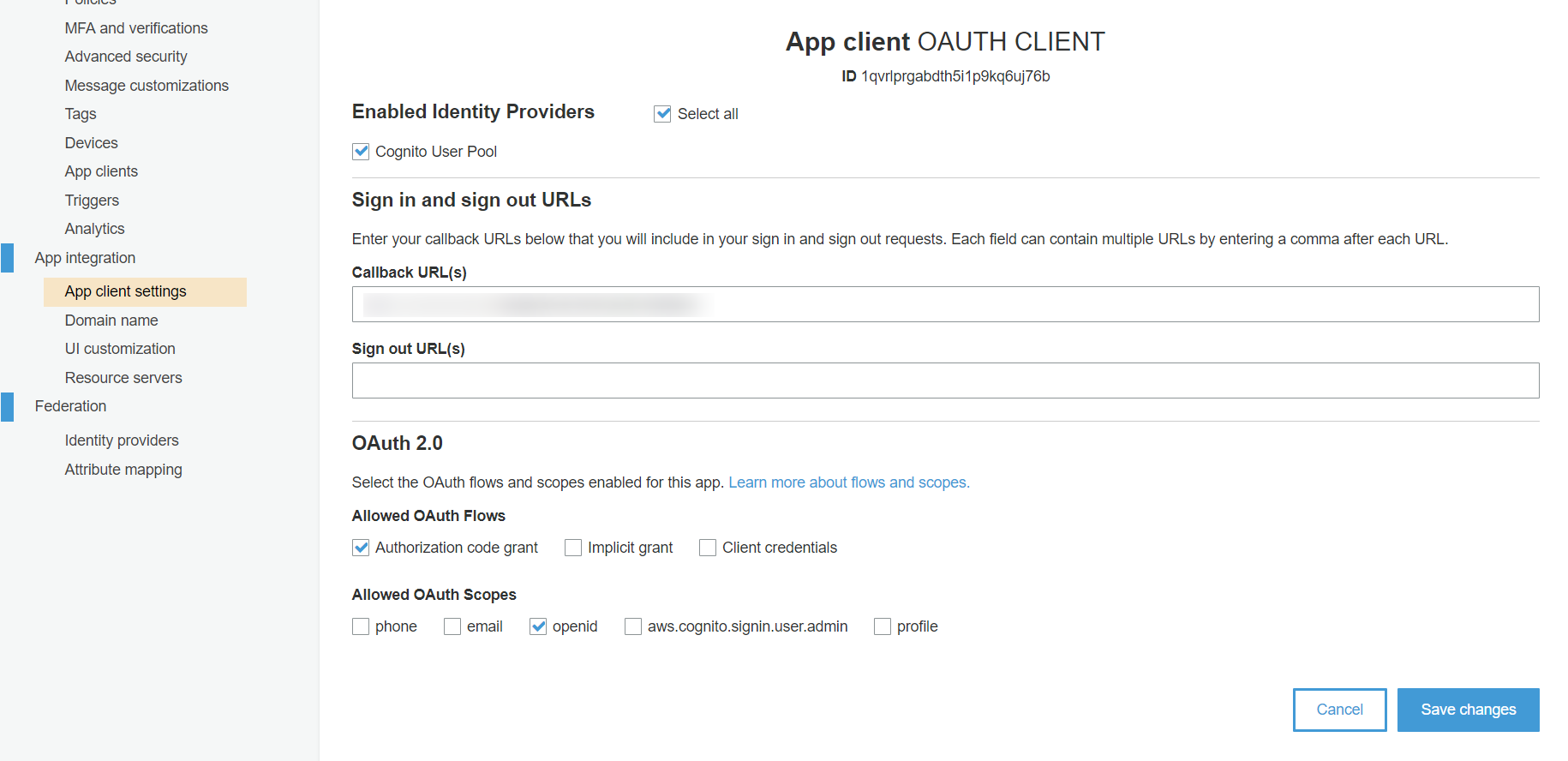 OAuth/OpenID/OIDC Single Sign On (SSO), AWS cognito SSO Login Save changes