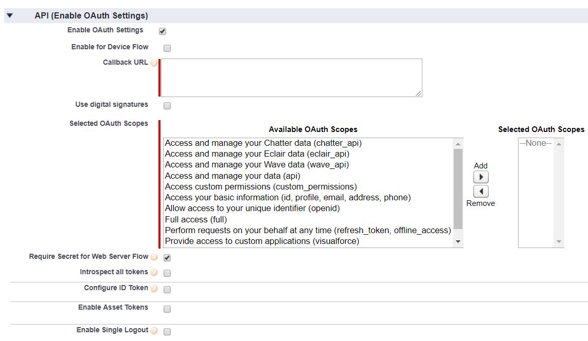 OAuth/OpenID/OIDC Single Sign On (SSO), Salesforce SSO Login Enable OAuth Settings
