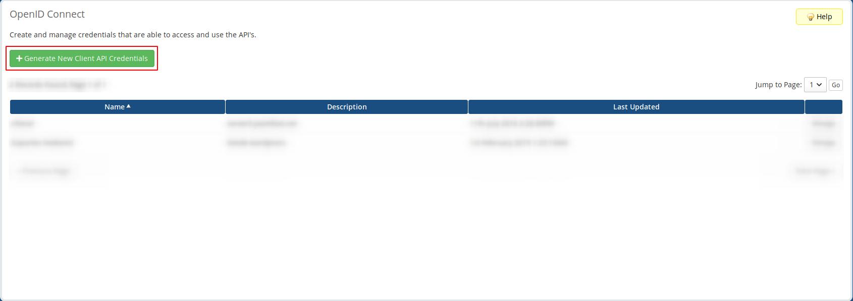 generate new Client API Credentials