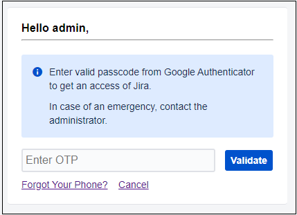 two factor authentication (2fa) for jira enter otp for secure Authentication