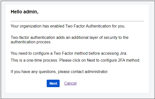 two factor authentication (2fa) for jira info for 2fa