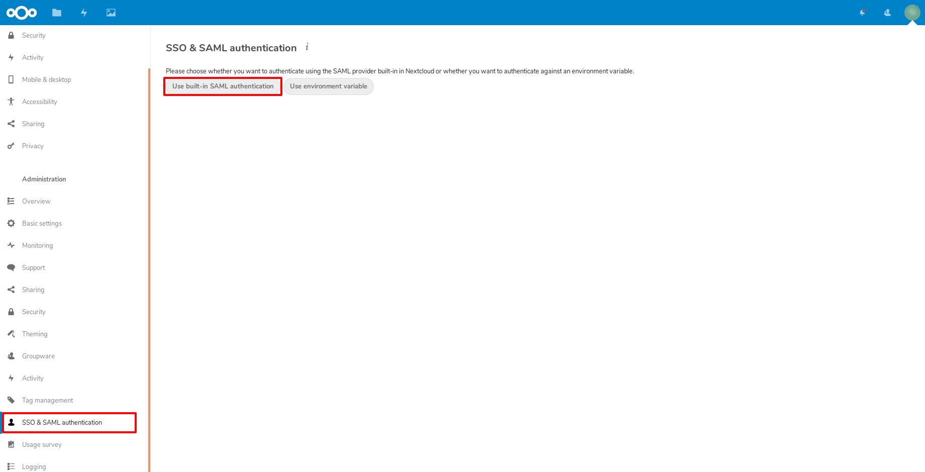 select built-in saml nextcloud as sp