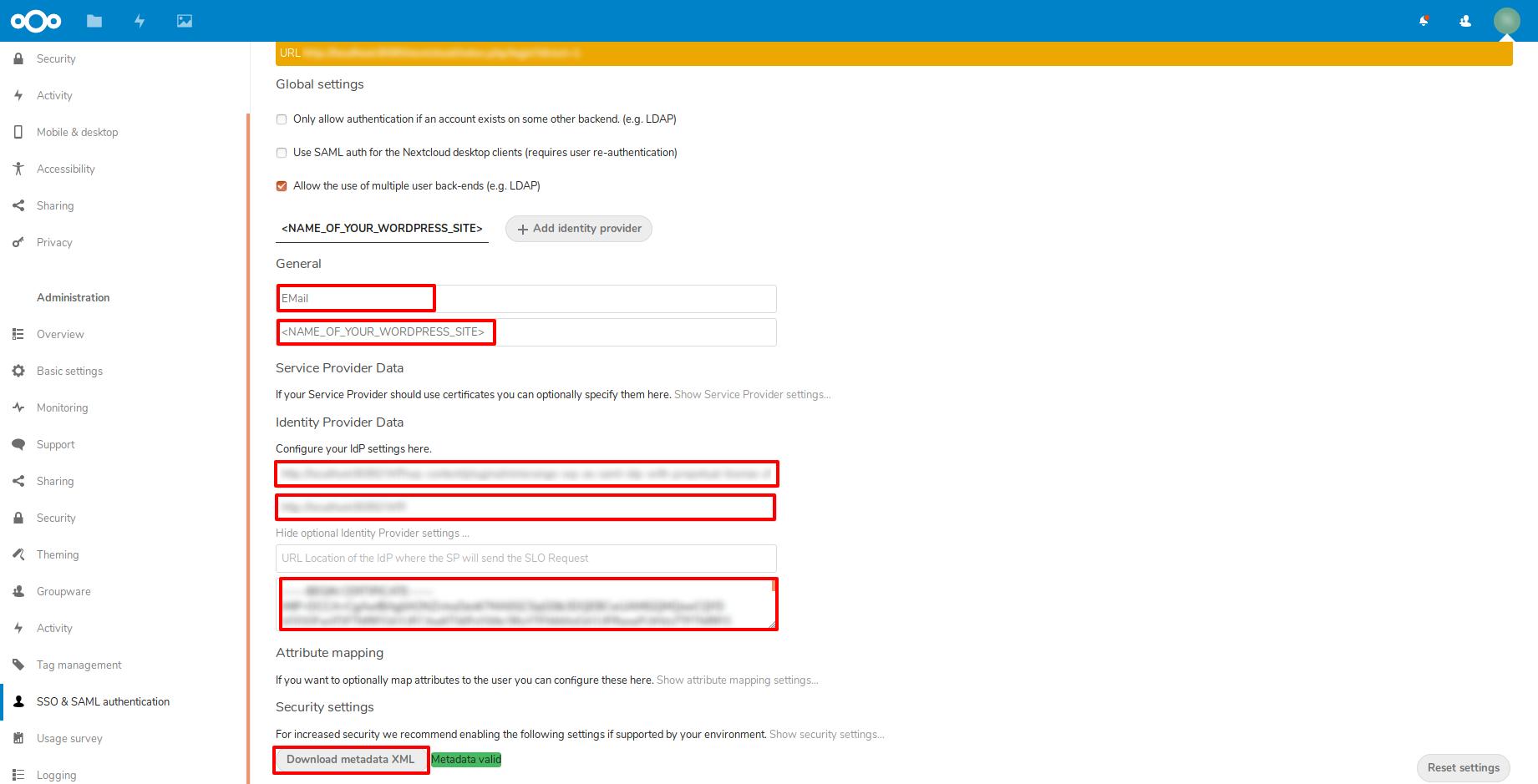 enter idp info nextcloud as sp
