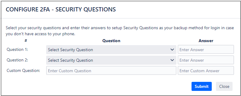 two factor authentication (2fa) for jira Enter the sequrity question as backup method