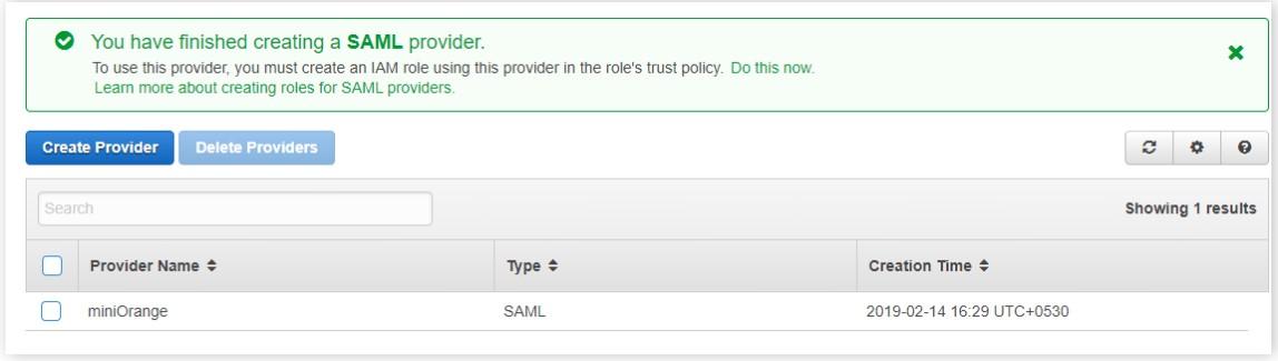 created saml provider