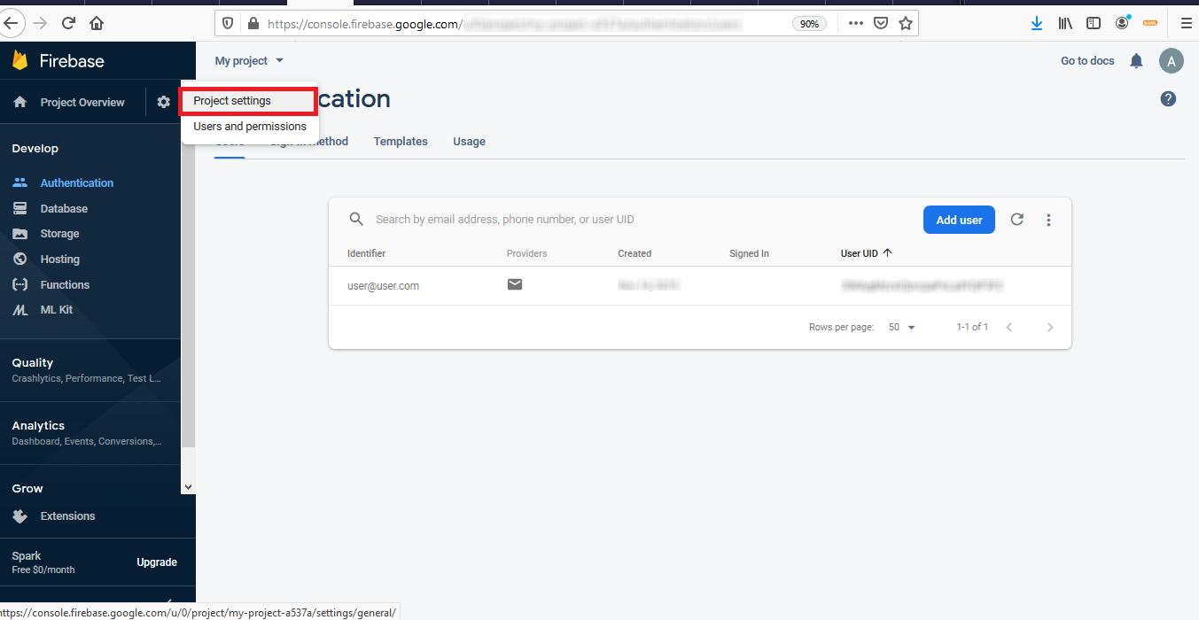 Firebase Integration - Project settings
