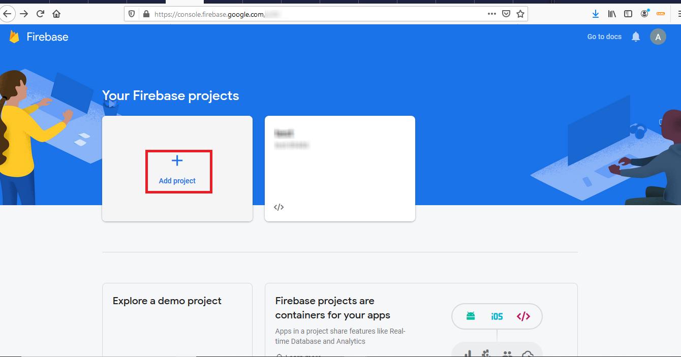 Firebase Integration - Add a project