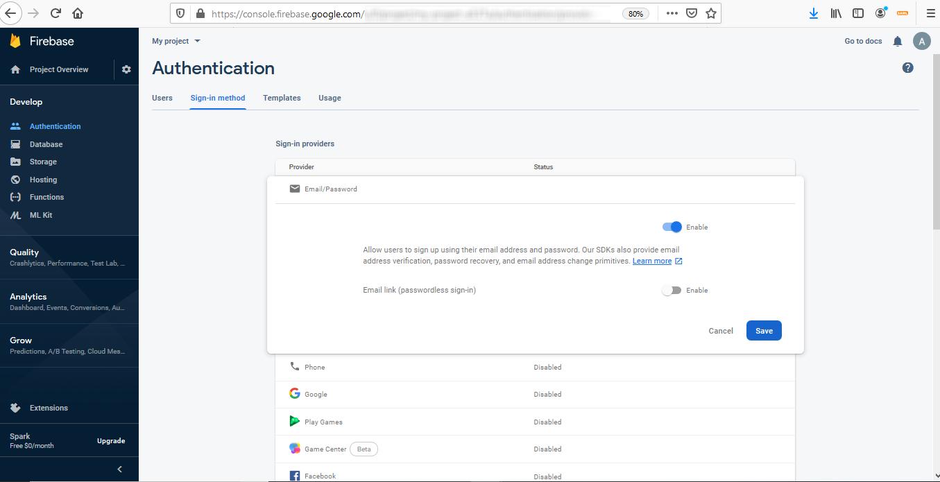 Firebase Integration - Enable sign in method