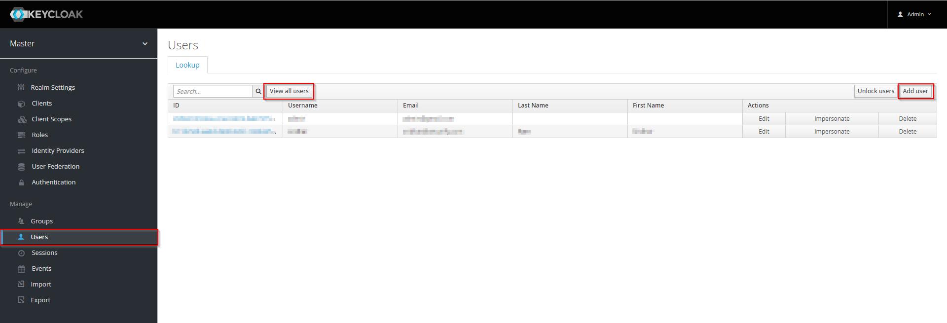 Joomla Jboss Keycloak user tab