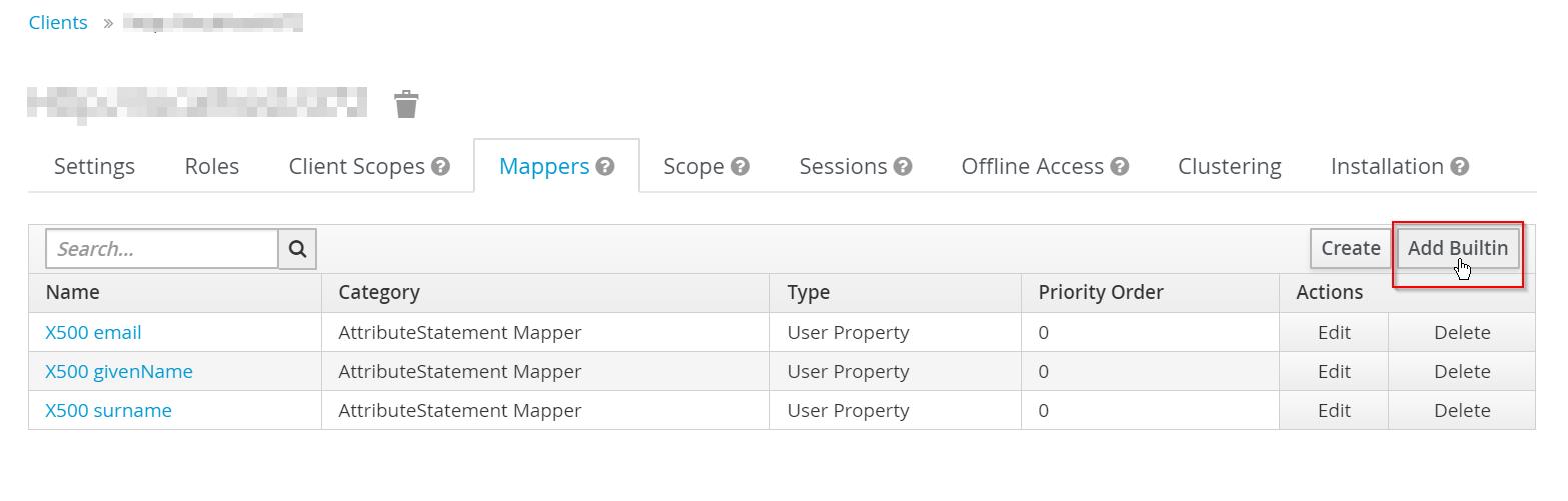 Joomla Jboss Keycloak Mappers tab