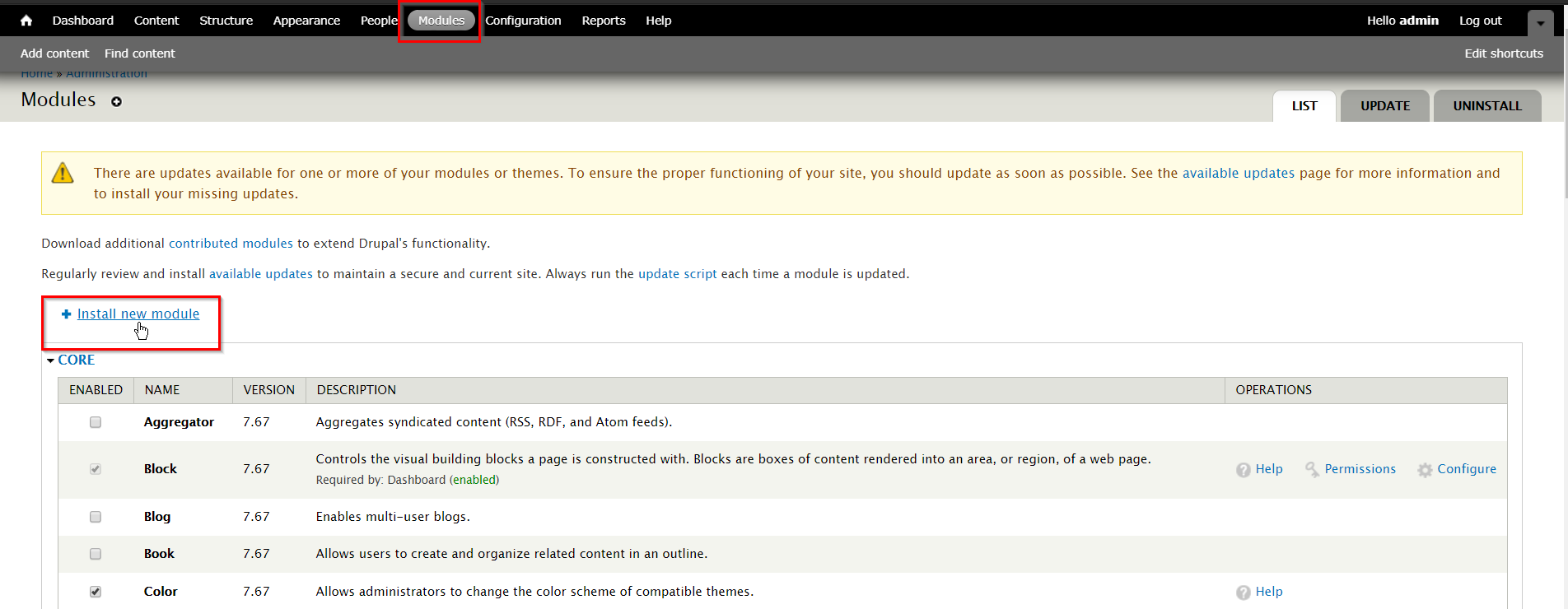 OTP_sso_Module page of Drupal 7 console