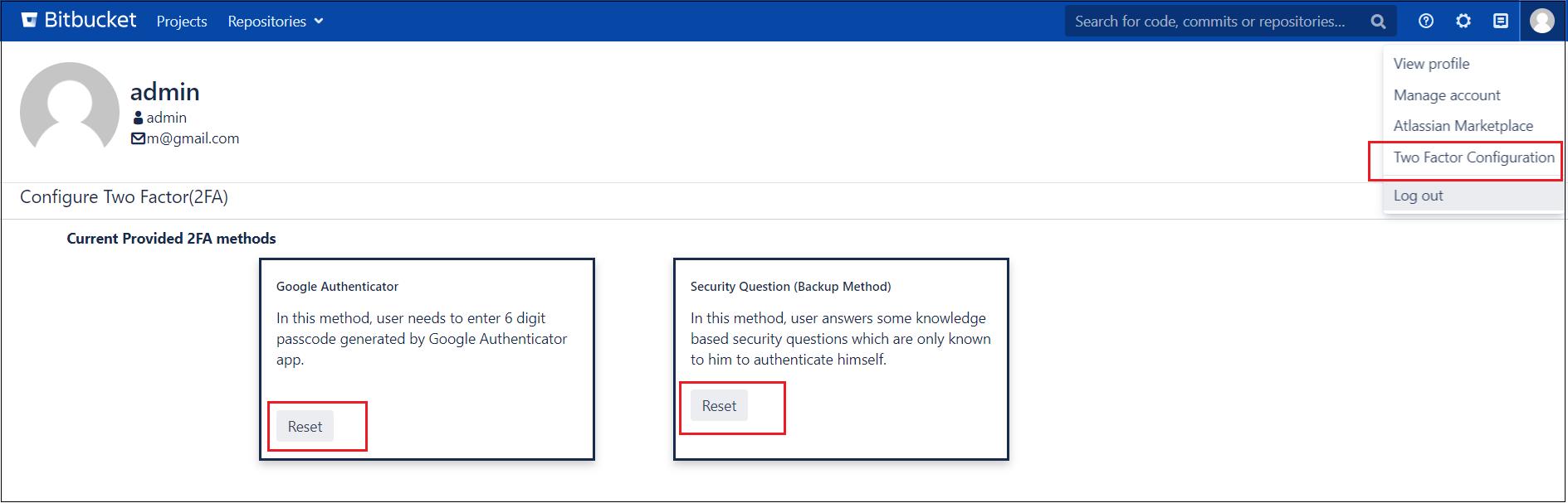 Two factor Authentication (2FA) for Bitbucket bitbucket 2fa/TFA