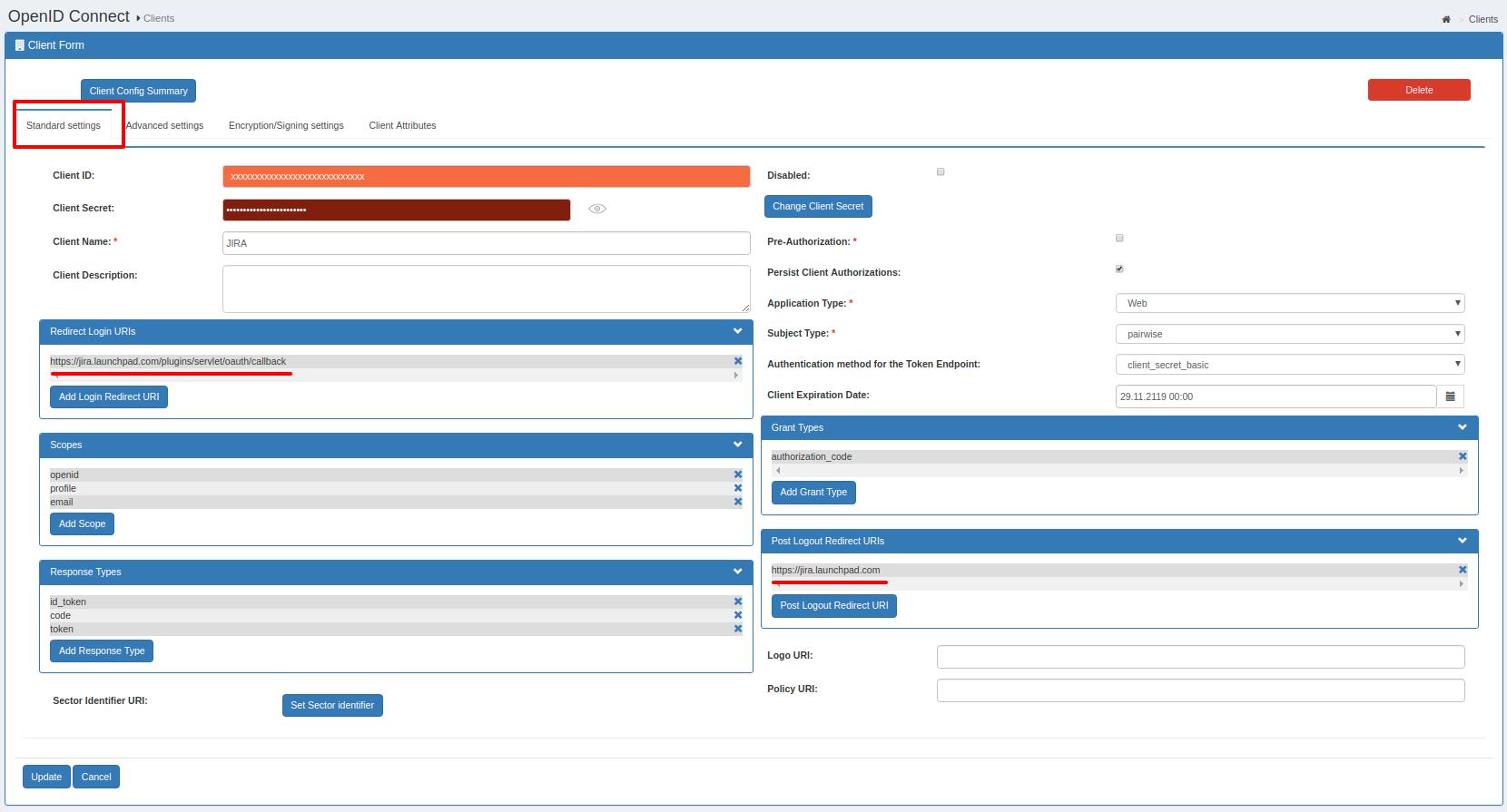 OAuth/OpenID/OIDC Single Sign On (SSO), Gluu Server SSO Login App Settings