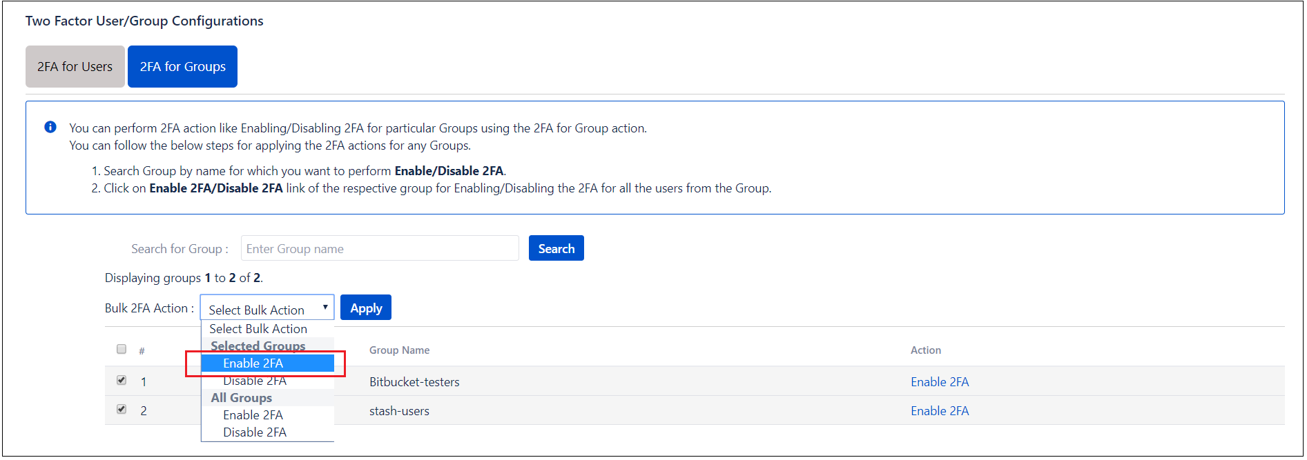 Two factor Authentication (2FA) for Bitbucket group based user management for multiple groups