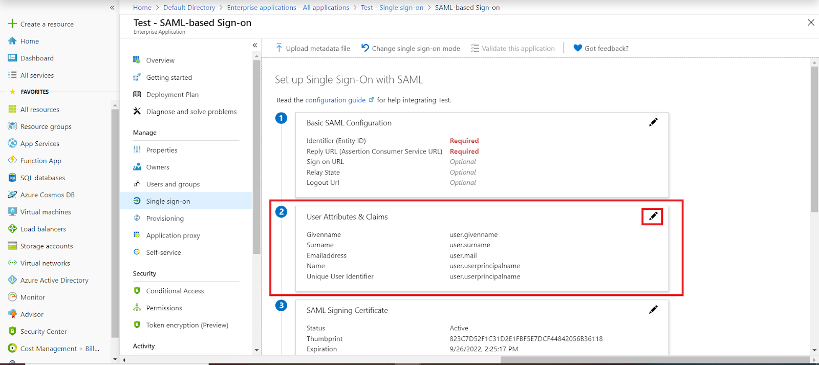 azure ad sso Attributes tab