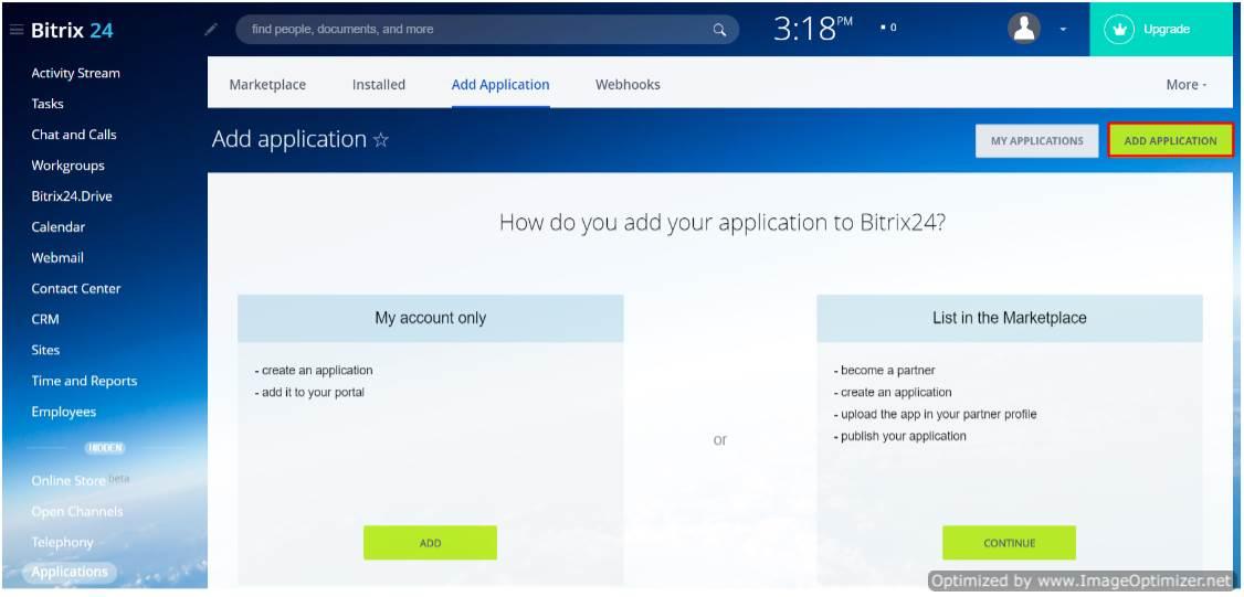 bitrix24 OAuth/OpenId add application