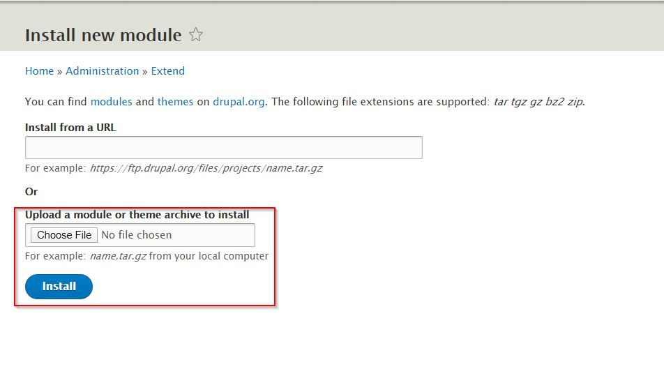Drupal 2FA upload module file