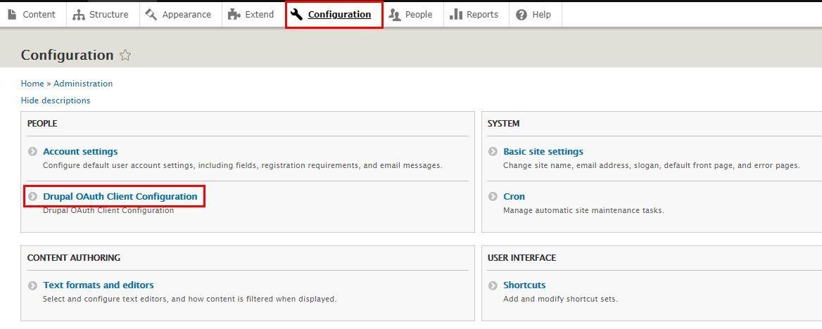 Drupal OAuth Client - Configuration