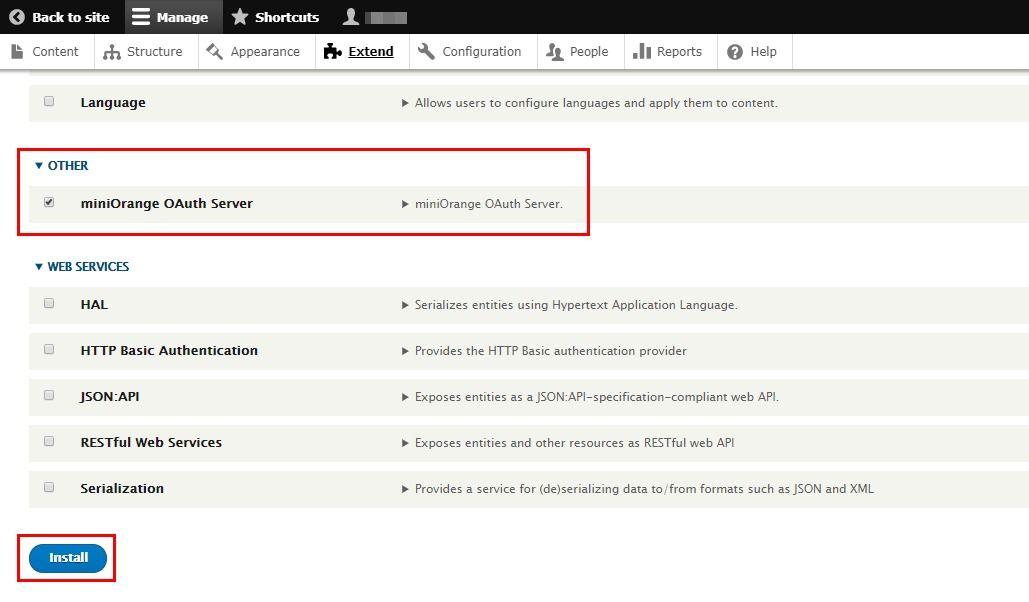 Drupal OAuth Server-Enable module