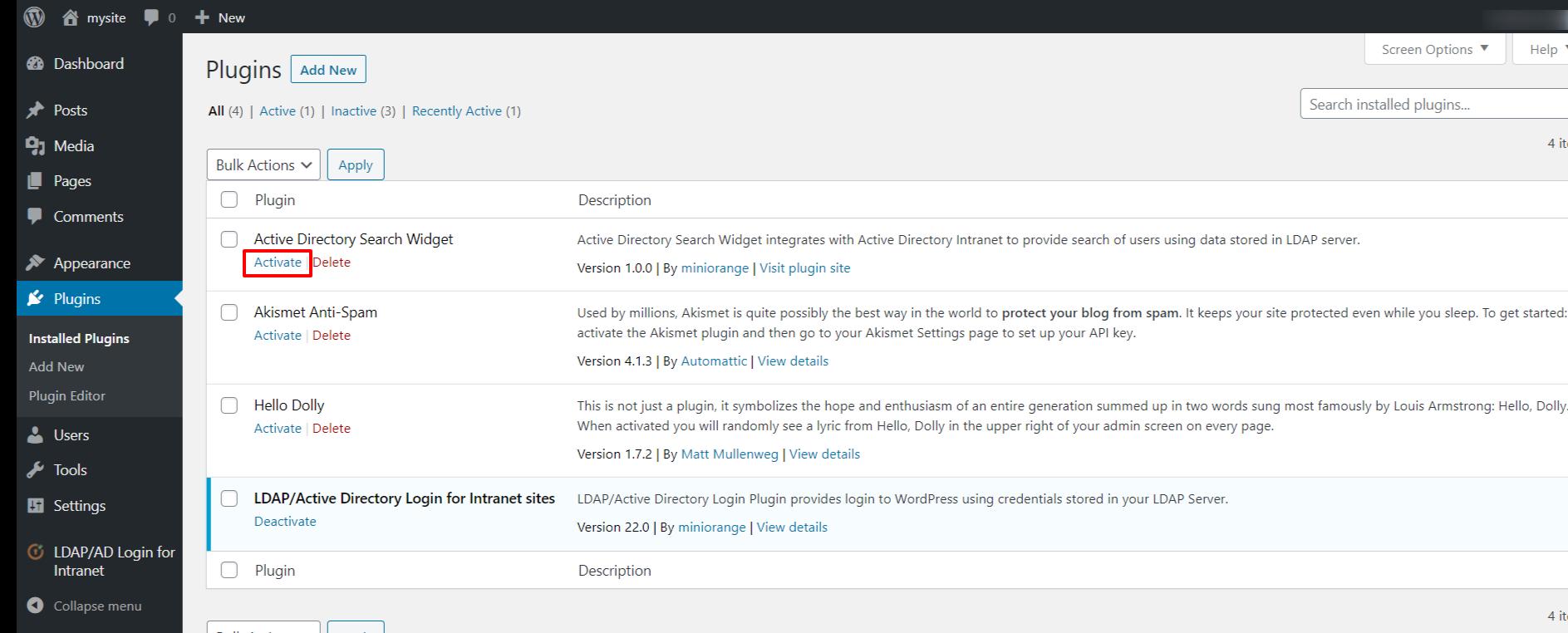 LDAP search widget activation