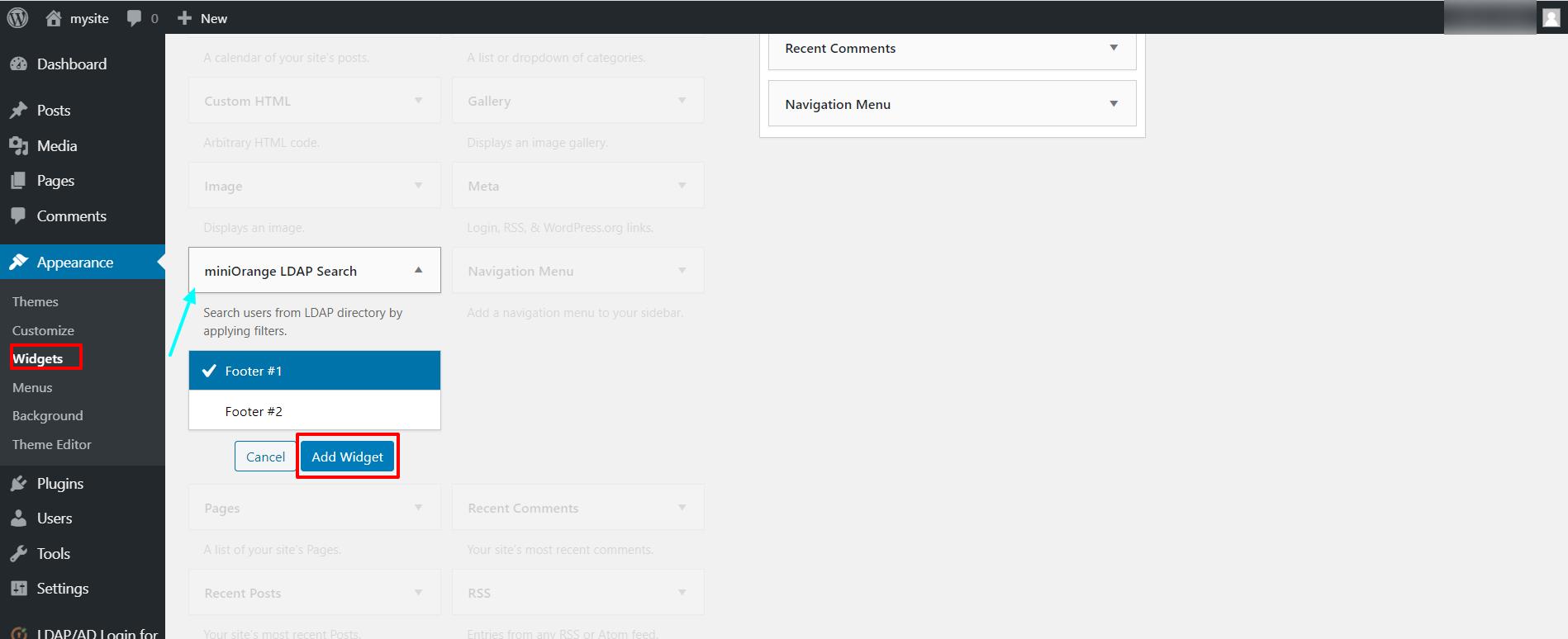 LDAP search widget add widget
