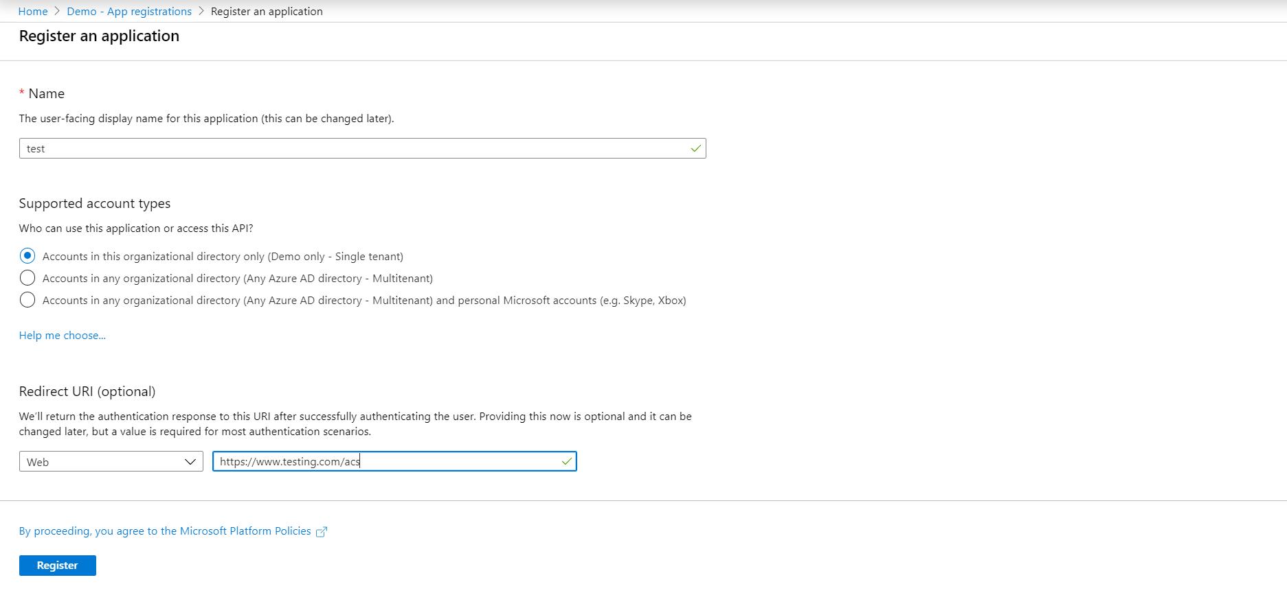 Drupal SAML Single Sign On (SSO) register an application