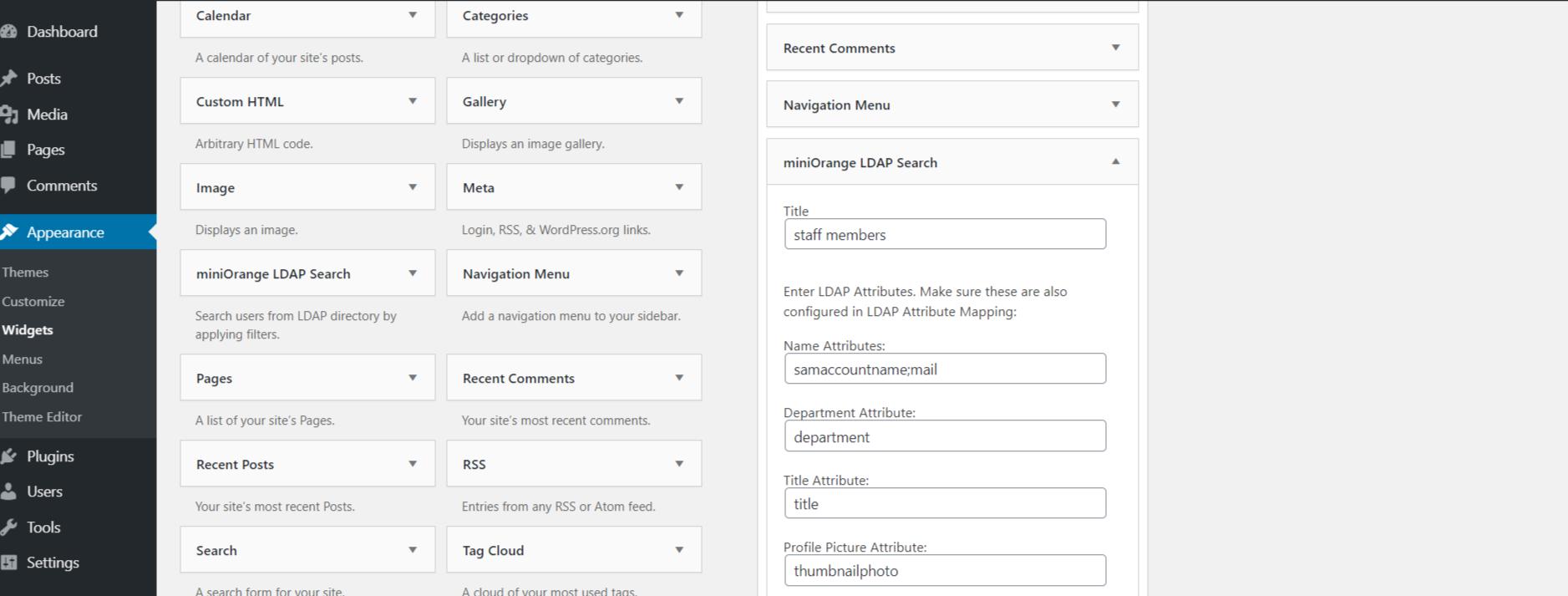 LDAP search widget configuration
