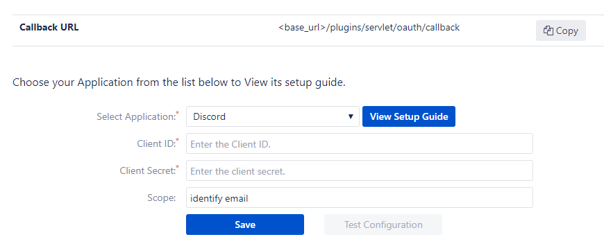 OAuth/OpenID Single Sign On (SSO) into Bitbucket using Discord- Configure Oauth tab