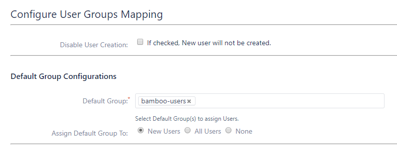 Bamboo SAML Single Sign On - SSO - Default group