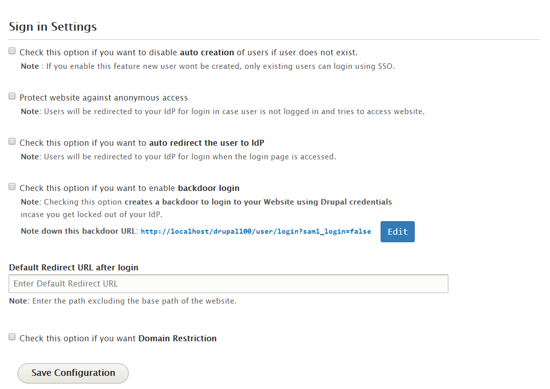 Drupal OpenAM sso  sign in settings