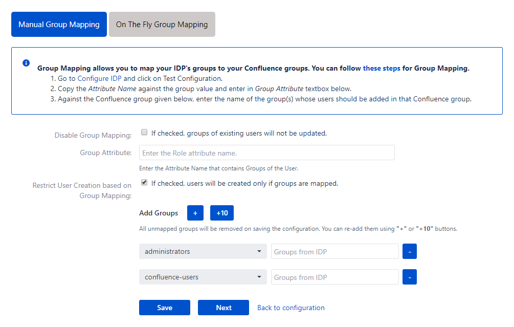 Confluence SAML Single Sign On - SSO - Manual group mapping