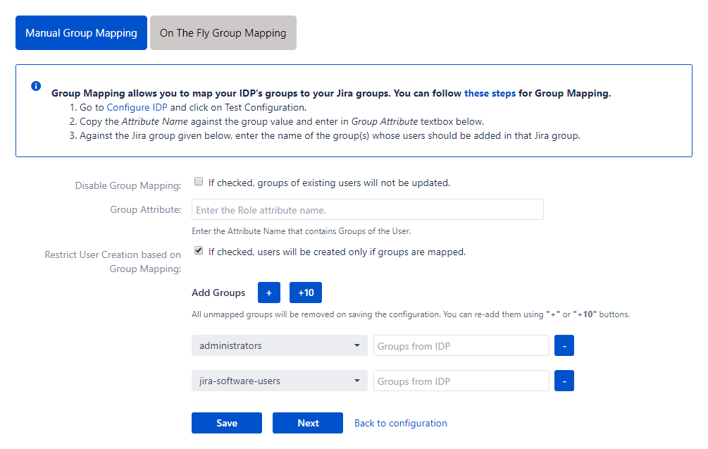 Jira SAML Single Sign On - SSO - Manual group mapping