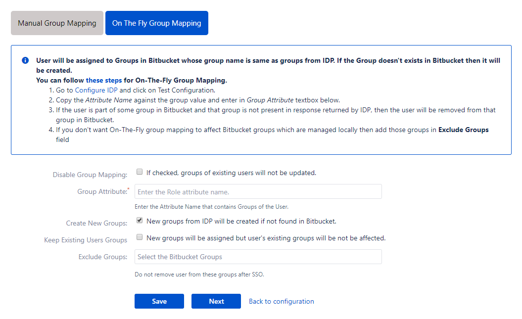 Bitbucket SAML Single Sign On - SSO - On the fly group mapping