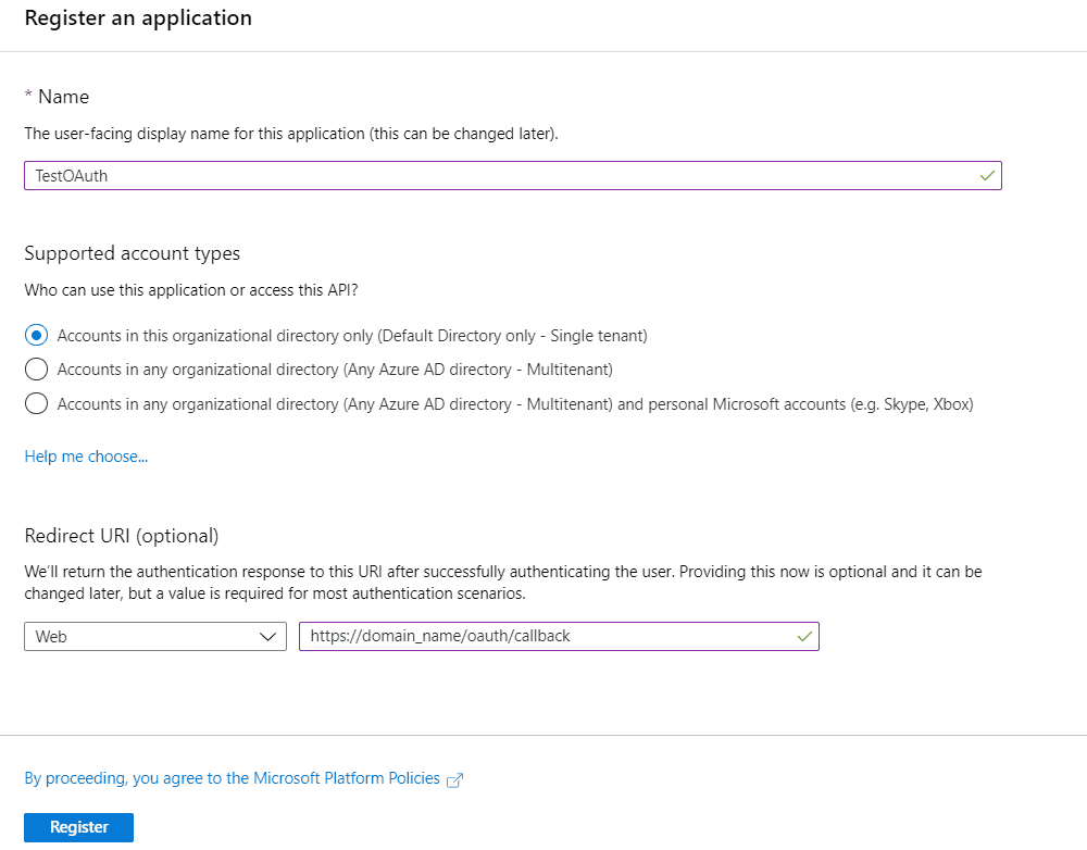 OAuth/OpenID/OIDC Single Sign On (SSO), Azure AD SSO registration
