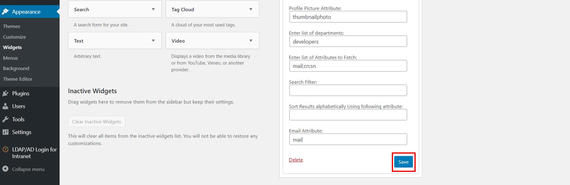 LDAP search widget save