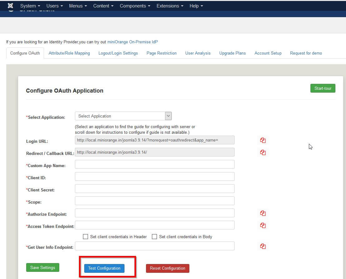 joomla oauth provider Application