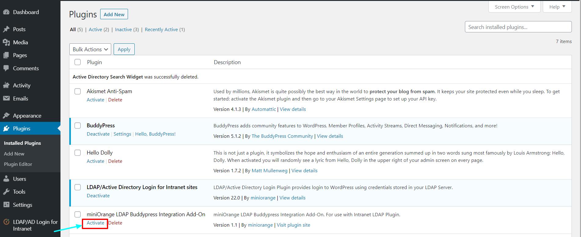 LDAP BuddyPress integration activate