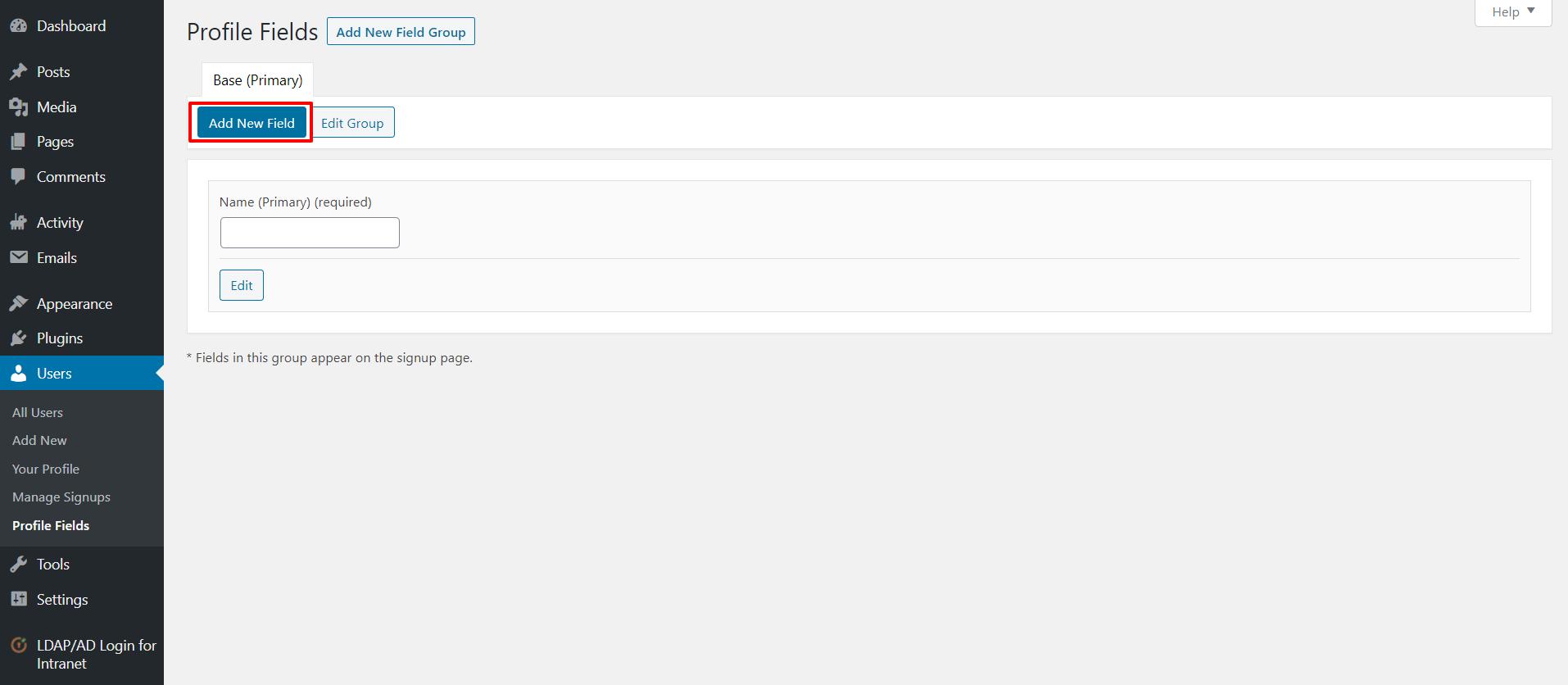 LDAP BuddyPress integration add new field