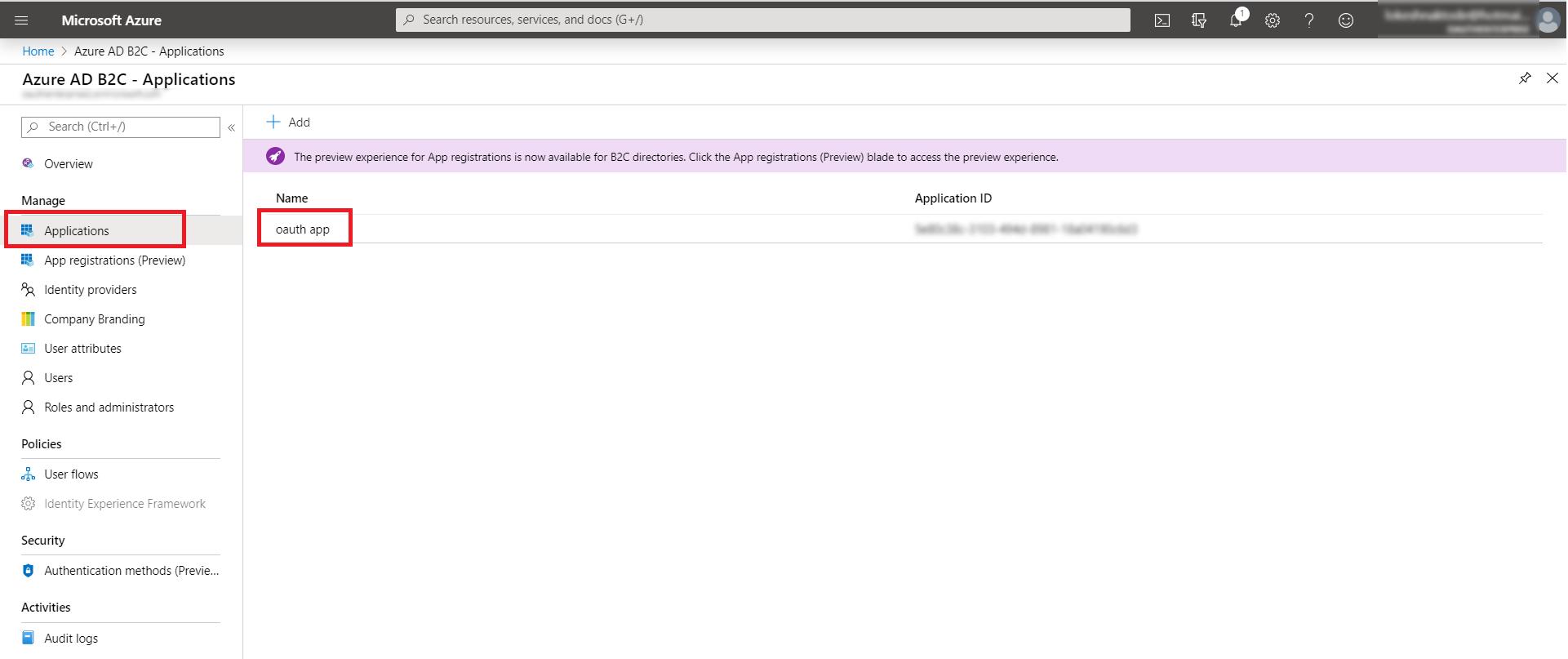 OAuth/OpenID/OIDC Single Sign On (SSO), AzureB2C SSO Login Applications option