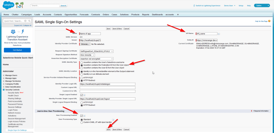 choose appropriate sso configurations