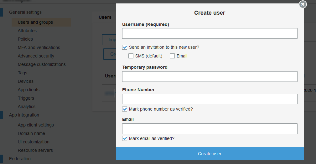 AWS Cognito App Client Configuration