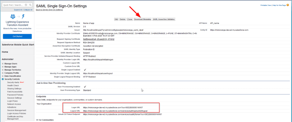 download service provider metadata from salesforce
