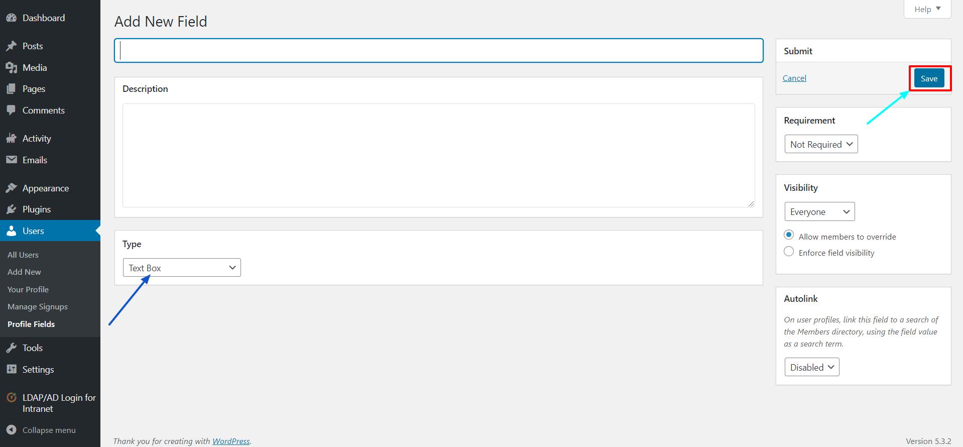 LDAP BuddyPress integration save
