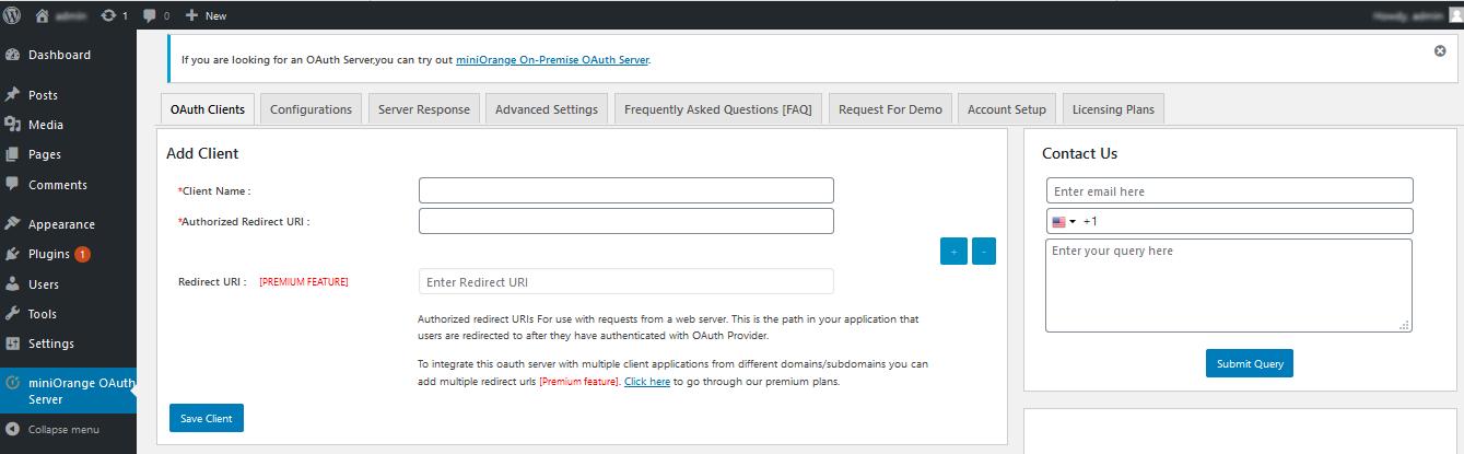 OAuth server Authorized Redirect URI