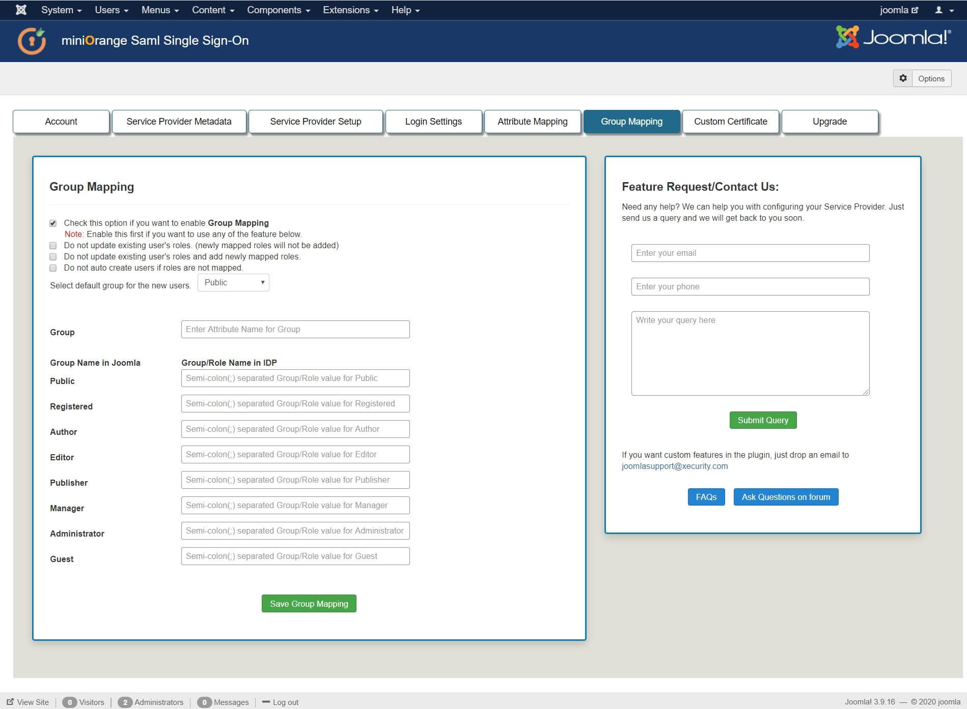Joomla SAML Single Sign On (SSO) pingfederate sso role mapping