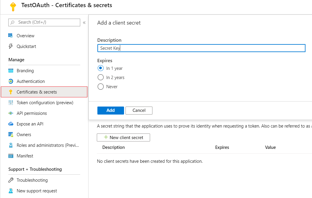 OAuth/OpenID/OIDC Single Sign On (SSO), AzureAD SSO secret-Key