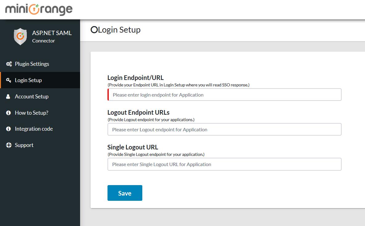 ASP.Net SAML Connector login Setup