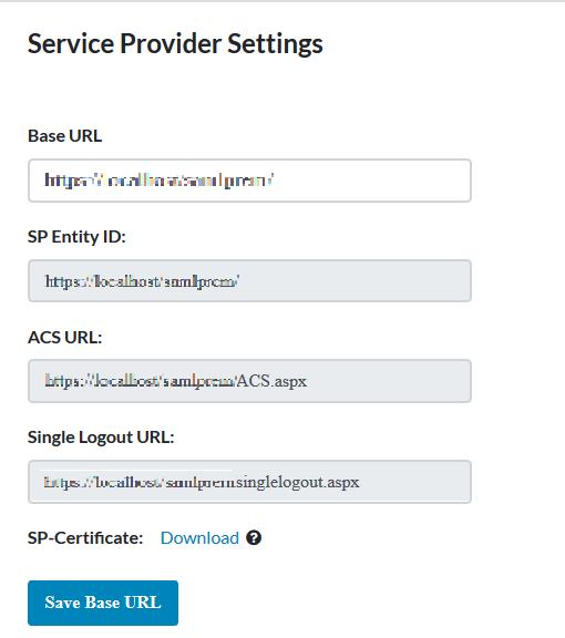 ASP.Net SAML Connector sp settings